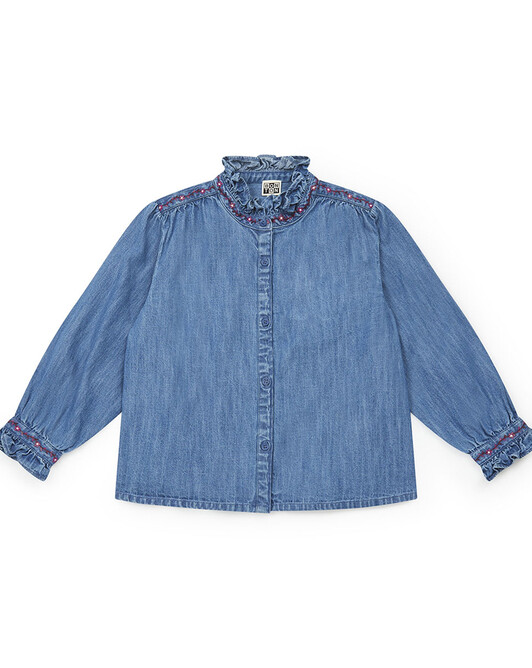 BLOUSE FILLE SWANN - Chambray bleu