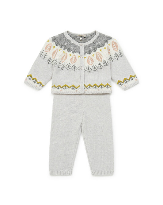 Ensemble Bébé Jacquard Knit - Jacquard rose