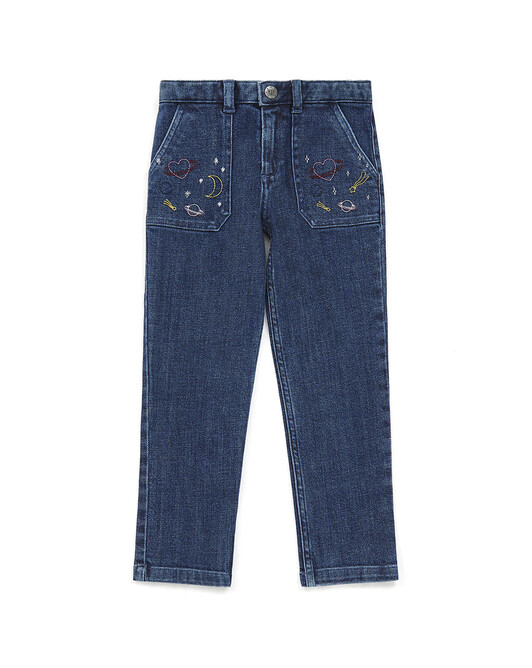 PANTALON FILLE MATCHA - Denim bleu
