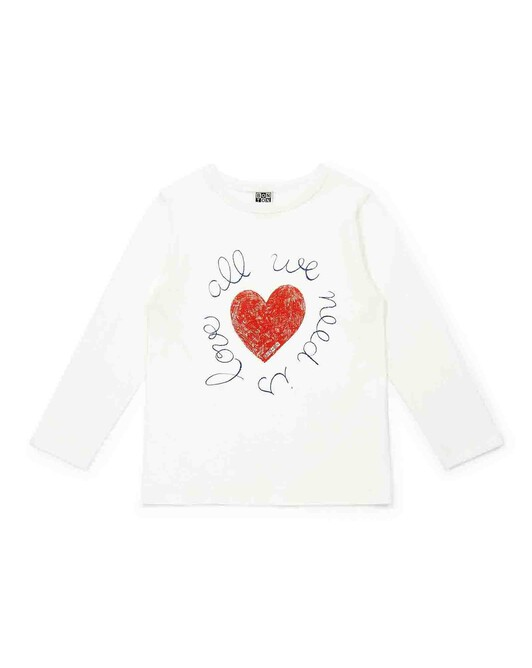 Organic cotton girl's T-shirt with ?All You Need Is Love? print - U081