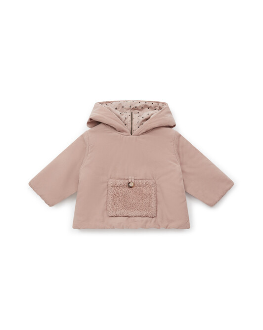 Over-dyed faux fur and mini corduroy poncho - U080