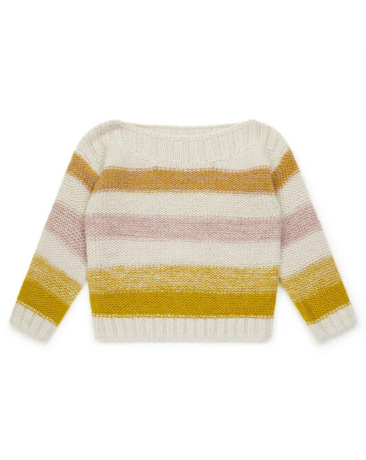 Pull Fille Large - Rayure jaune