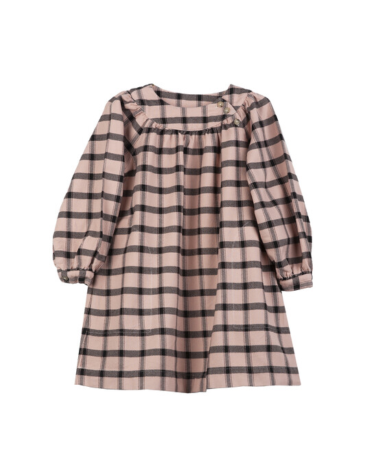 Brushed cotton large check girl's dress - C406