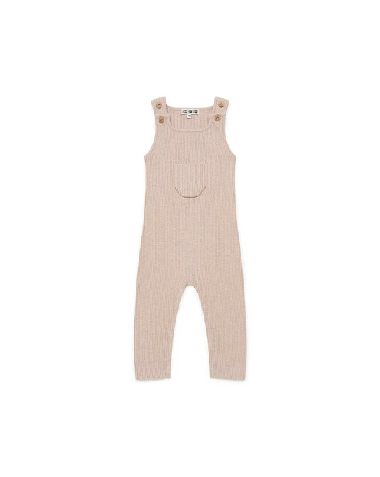 Wool-blend solid knit baby dungarees - U080
