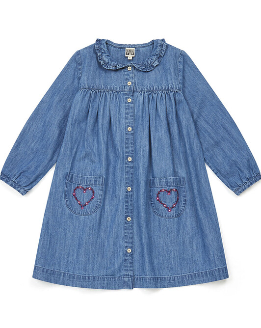 ROBE FILLE BIBI - Chambray bleu