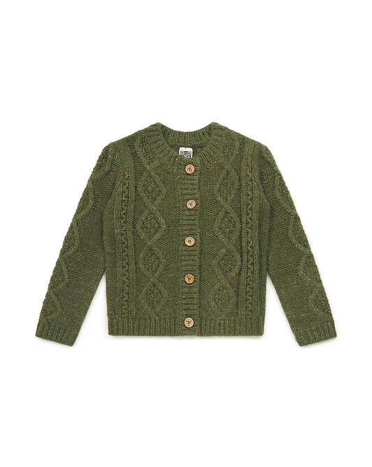 Cardigan Fille Tricot - Vert lochness