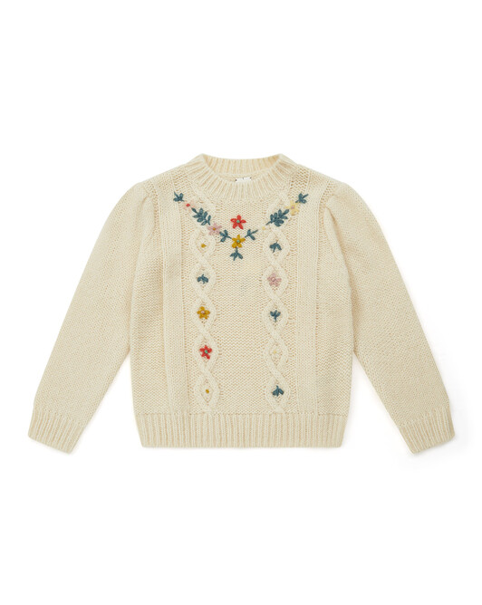 Austrian-style hand-embroidered girl's jumper - U081