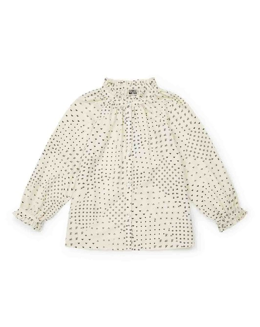 Mini organic cotton twill girl's blouse with an exclusive print - I012