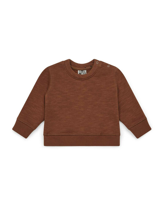 Organic cotton sweatshirt fabric baby sweater with elbow patches - U077