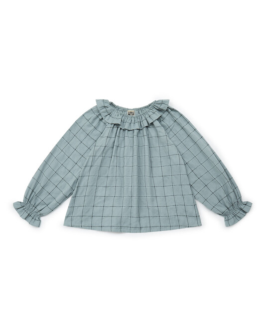Over-dyed check girl's blouse - C611