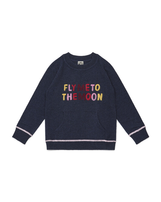 Pull Fille 'Fly To The Moon' - Bleu galaxie